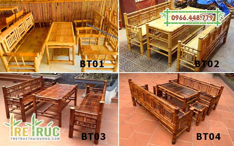 Những bộ bàn ghế tre gia đình phổ biến